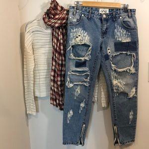 ONE by One Teaspoon Aged Denim Jean Pants Size 28